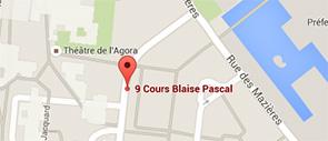 marqueur google map sur le 9 cours blaise pascal à Evry